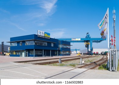 ROTTERDAM, NETHERLANDS - MAY 6, 2017: Branche of the Combi Terminal Twente, a container storage and transshipment terminal in the port of Rotterdam, which covers more than 5 hectares