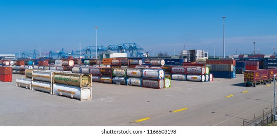ROTTERDAM, NETHERLANDS - MAY 6, 2017: Storage area of railroad tanks in the Rotterdam port