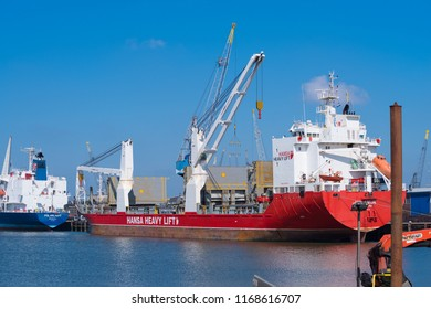 ROTTERDAM, NETHERLANDS - MAY 6, 2017: Hansa vessel in the Rotterdam port. The company uses ships specially designed for the transport of oversized cargo that require maximum lifting capacity.