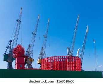 ROTTERDAM, NETHERLANDS - MAY 6, 2017: Several large cranes in the Port of Rotterdam