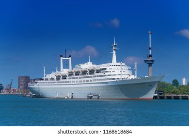 ROTTERDAM, NETHERLANDS - MAY 6, 2017: Former cruise ship SS Rotterdam, a steamship with oil-fired steam boilers and steam turbines. Since 2008 it is moored in the Maas Harbor