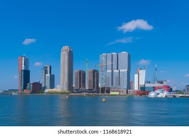 ROTTERDAM, NETHERLANDS - MAY 6, 2017: Modern skyline of the largest port city of Europe