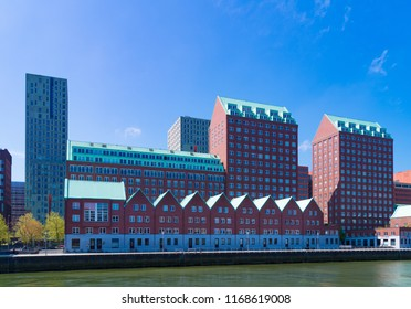 ROTTERDAM, NETHERLANDS - MAY 6, 2017: Modern residential architecture along the Spoorweghaven (railroad harbor)
