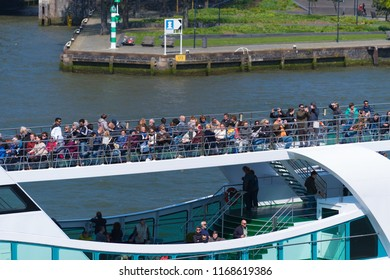 ROTTERDAM, NETHERLANDS - MAY 6, 2017: Unknown people on a tour boat in the Rotterdam city center