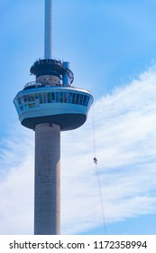 ROTTERDAM, NETHERLANDS - MAY 6, 2017: The Euromast observation tower, designed by Hugh Maaskant. It is constructed between 1958 and 1960. It was specially built for the 1960 Floriade.