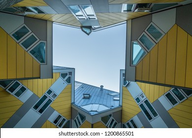 Rotterdam, The Netherlands - May 7, 2018 : The cube houses in Rotterdam taken from an inner court