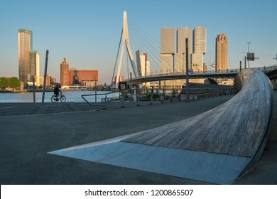 Rotterdam, The Netherlands - May 7, 2018 : The Erasmusbridge on a late afternoon in spring