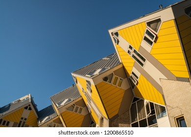 Rotterdam, The Netherlands - May 7, 2018 : The cube houses in Rotterdam on a sunny spring afternoon