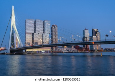 Rotterdam, The Netherlands - May 7, 2018 : The Erasmusbridge in Rotterdam on a clear spring evening in May