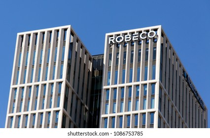 Rotterdam, Netherlands -may 8, 2018: Robeco office in Rotterdam, the Netherlands
