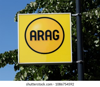 Rotterdam, Netherlands -may 8, 2018: Arag sign in Rotterdam the Netherlands