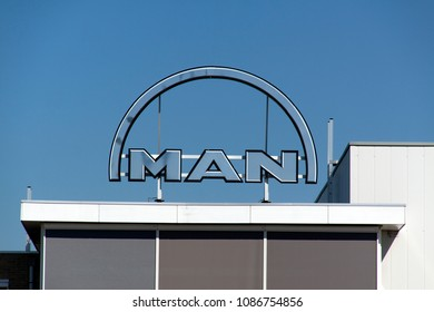 Rotterdam, Netherlands -may 8, 2018:  MAN letters on a building in Rotterdam