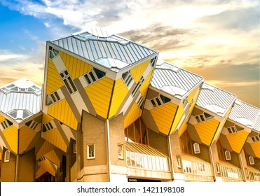 ROTTERDAM, NETHERLANDS - May 9, 19: Cube houses or Kubuswoningen in Dutch are a set of innovative houses designed by architect Piet Blom and built in Rotterdam, the Netherlands