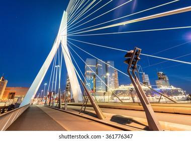 Rotterdam, Netherlands. Modern night city skyline.
