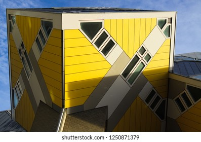 ROTTERDAM, NETHERLANDS - NOVEMBER 10, 2018: Yellow cube houses
