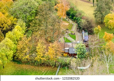 Rotterdam, The Netherlands, November 12, 2018: aerial view of the midget golf track in The Park, surrounded by trees in vibrant autumn colors