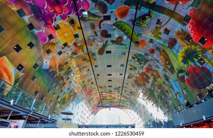 Rotterdam / The Netherlands - November 2014: The Markthal or Market Hall is a residential and office building with a market hall underneath, located in Rotterdam.