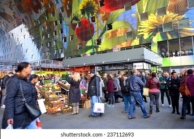 ROTTERDAM, NETHERLANDS- NOVEMBER 22, 2014: view of the new artistic market hall in Rotterdam, Netherlands, november 22, 2014