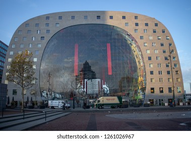 Rotterdam, The Netherlands - November 23, 2018: Markthal (Market Hall) of Rotterdam with Christmas decoration on its immense glass entrance wall