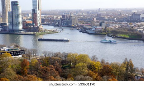 ROTTERDAM, NETHERLANDS - NOVEMBER 27, 2016: Euromast Tower, an observation tower from Rotterdam