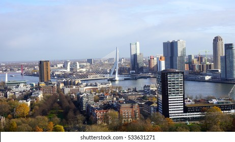 ROTTERDAM, NETHERLANDS - NOVEMBER 27, 2016: Euromast Tower, an observation tower from Rotterdam