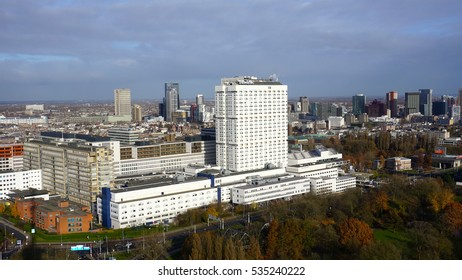 ROTTERDAM, NETHERLANDS - NOVEMBER 27, 2016: A view of Erasmus MC Hospital from Euromast Tower