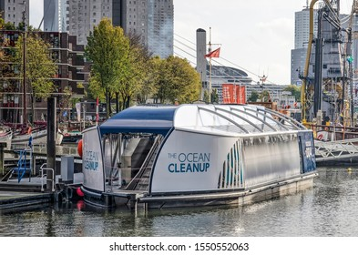 Rotterdam, The Netherlands, November 4, 2019: interceptor vessel, built to collect plastic waste from rivers, moored at Leuvehaven harbour near the Maritime Museum