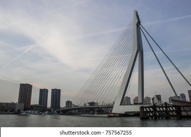 ROTTERDAM, THE NETHERLANDS - OCTOBER 10, 2017: Erasmus Bridge connects the north and south parts of the city, second largest bridge in the Netherlands.