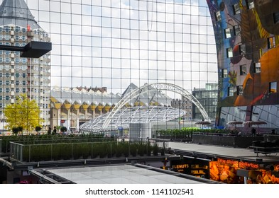 Rotterdam, Netherlands - OCTOBER, 17 2014: metro stop station Rotterdam Blaak Markt Markthal Blaaktoren Het Potlood bildings in Rotterdam Netherlands.