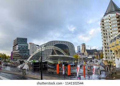 Rotterdam, Netherlands - OCTOBER, 17 2014: metro stop station Rotterdam Blaak Markt Markthal in Rotterdam Netherlands.