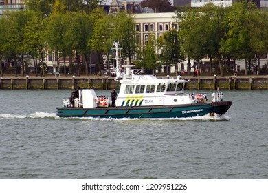 Rotterdam, the Netherlands - October 21, 2018: Dutch customs (Douane) patrol and service vessel 'Zilvermeeuw' sailing in the port of Rotterdam.