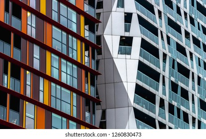 ROTTERDAM, THE NETHERLANDS - OCTOBER 25, 2018: Abstract building part of 2 different appartments. one with color and the other one white.