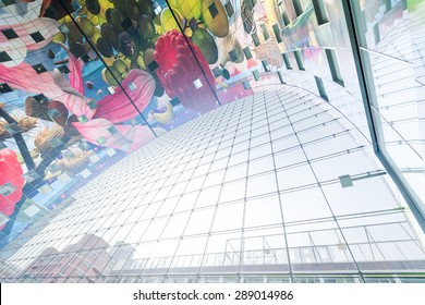 Rotterdam, Netherlands - October 31, 2014: Ceiling of the Markthal modern market place building.