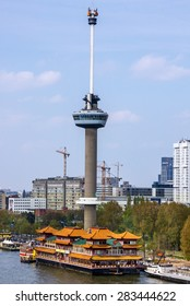 Rotterdam, Netherlands. Seafront Chines restaurant and tower.