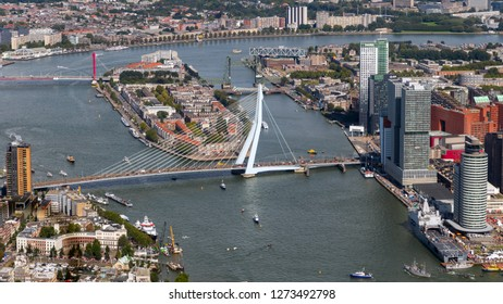 ROTTERDAM, THE NETHERLANDS - SEP 2, 2017: Aerial view of the Erasmus Bridge and highrise buildings in Rotterdam city.