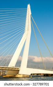 ROTTERDAM, NETHERLANDS - SEP 20, 2005: Detail of the asymmetrical pylon of the Erasmus Bridge 'The Swan' in the city of Rotterdam, the Netherlands
