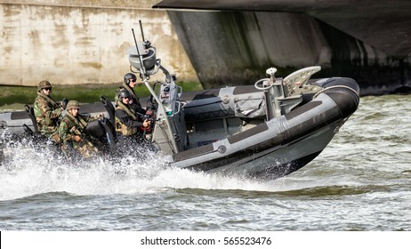 ROTTERDAM, NETHERLANDS - SEP 3, 2016: Fast speedboat with Dutch Marines during an assault demo at the World Harbor Days in Rotterdam.