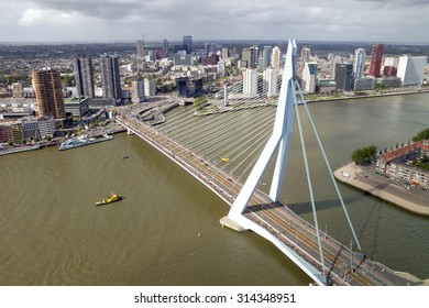 ROTTERDAM, NETHERLANDS: SEP 5, 2015: Aerial view on the Erasmus bridge and downtown Rotterdam.