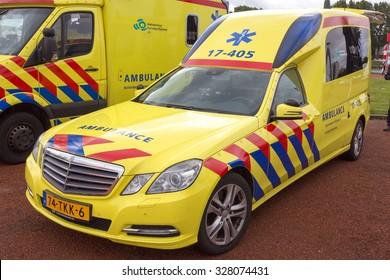 ROTTERDAM, NETHERLANDS: SEP 5, 2015: Dutch Mercedes-Benz E-Klasse Ambulance of Region Rotterdam-Rijnmond.