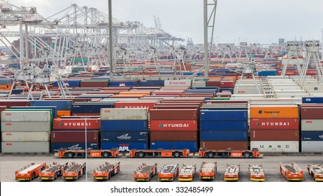 ROTTERDAM, NETHERLANDS - SEP 6, 2015: ECT Container terminal in the Port of Rotterdam. The port is the largest in Europe and facilitate the needs of a hinterland with 40,000,000 consumers.
