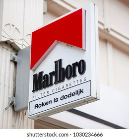 ROTTERDAM, NETHERLANDS - SEP 6, 2017: Marlboro Sign. Marlboro is known as one of the leading brands of cigarettes. Philip Morris launched the Marlboro brand in 1924 as a women's cigarette.