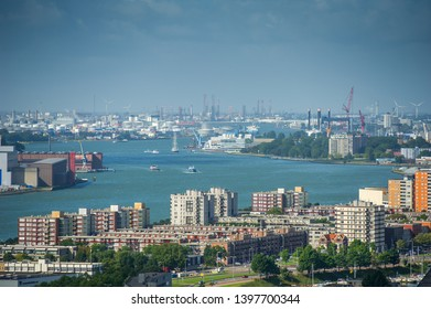 ROTTERDAM, THE NETHERLANDS - Sep. 6, 2017: Rotterdam skyline with the maritime port. Aerial view of Rotterdam, The Netherlands. A major logistic and economic centre, Rotterdam is Europe's largest port