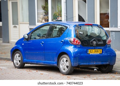 "ROTTERDAM, THE NETHERLANDS - SEP 6, 2017: Toyota Aygo (AB40) car. The Toyota Aygo is a city car sold by Toyota in Europe since 2005. The name ""Aygo"" comes from ""i-go"", symbolising freedom and mobility"