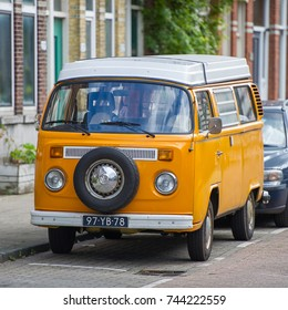 ROTTERDAM, THE NETHERLANDS - SEP 6, 2017: VW Bus - VOLKSWAGEN Transporter T2 campervan. The Volkswagen Type 2 is a panel van introduced in 1950 by the German automaker Volkswagen.