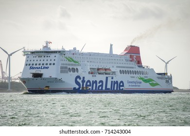 "ROTTERDAM, THE NETHERLANDS - SEP 7, 2017: Stena Line Ferry Ship ""Stena Britannica"" on its way back to the Rotterdam Port. Stena Line is one of the largest ferry operators in the world."