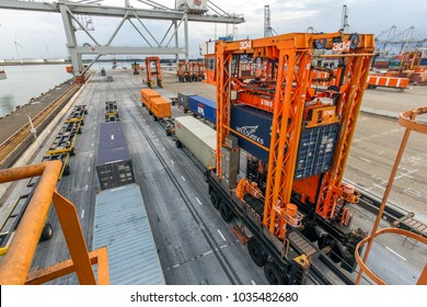 ROTTERDAM, NETHERLANDS - SEP 8, 2013: Straddle carriers moving cargo containers in the ECT shipping terminal in the Port of Rotterdam.