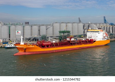 ROTTERDAM, THE NETHERLANDS - SEP 9, 2018: Oil tanker moored at the Vopak tank terminal in the Port of Rotterdam.