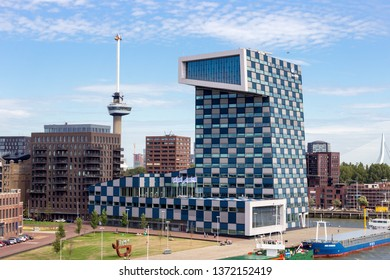 ROTTERDAM, NETHERLANDS - SEP 9, 2018: View of STC Building on Lloydstraat street in Delfshaven district of Rotterdam. In the background is the Euromast and Erasmus bridge visible.