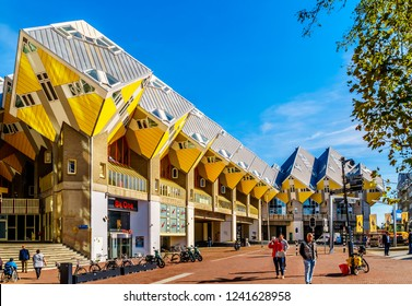 Rotterdam / The Netherlands - Sept. 26, 2018: The architectural wonder of Cube Housing complex in near Blaak Station in the center of the city of Rotterdam