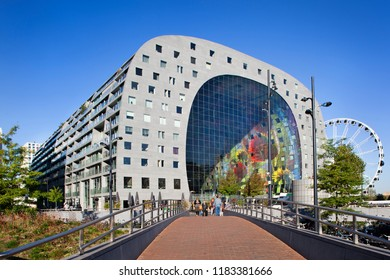 Rotterdam, Netherlands – September 18, 2018: Exterior of the famous markthal or market hall in Rotterdam